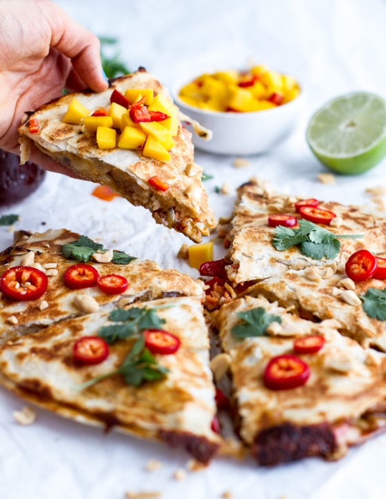 Sweet Thai Chili Salmon Quesadillas with Spicy Mango Half Baked Harvest