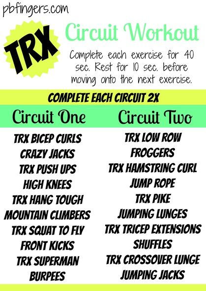 TRX Circuit Workout Peanut Butter Fingers PBFingers
