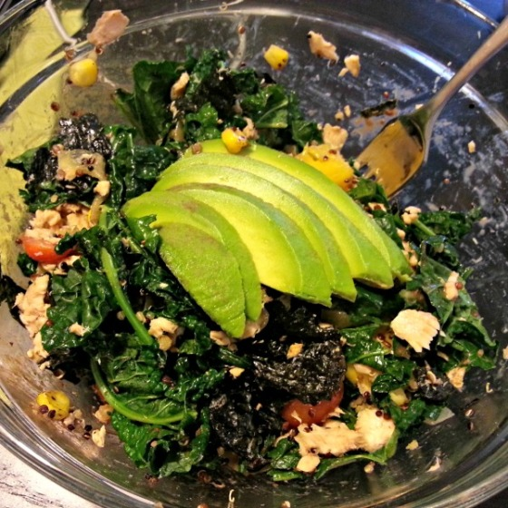 Wilted Kale Nori Avocado Salmon