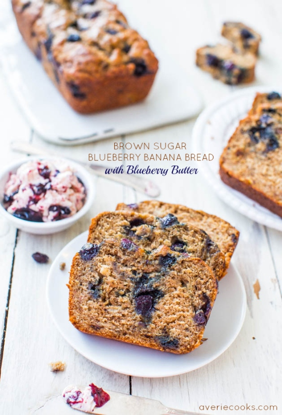 Brown Sugar Blueberry Banana Bread with Blueberry Butter Averie Cooks