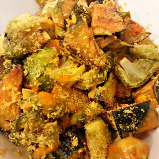 Buffalo Kabocha Squash Brussels Sprouts Nutritional Yeast