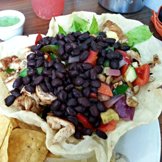 Chicken Taco Salad Black Beans Grilled Veggies Guacamole