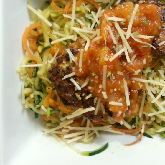 Joy the Baker Baked Turkey Meatballs Spiralized Zucchini Carrot Noodles