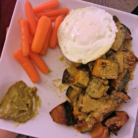 Kabocha Carrots Garlic Avocado Egg