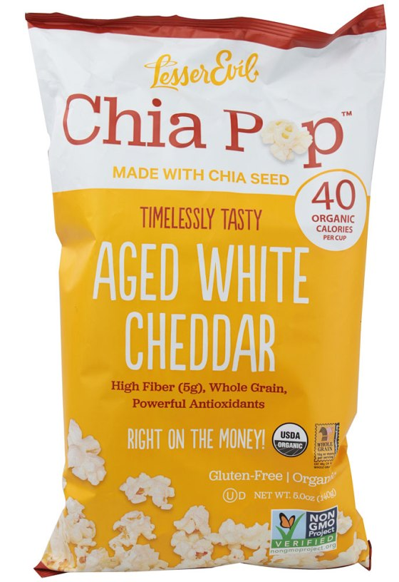 Lesser Evil Snacks White Cheddar Chia Pop