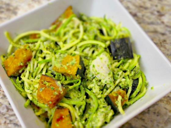 Skinny Spinach Basil Pesto Zucchini Noodles Kabocha Squash