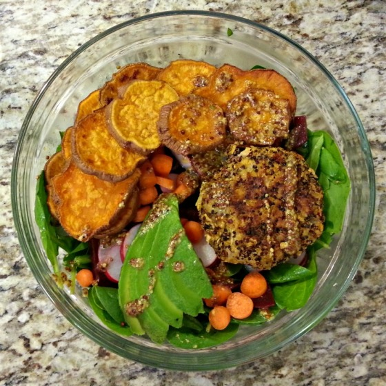 Spinach Salad Sweet Potato Quinoa Burger Avocado