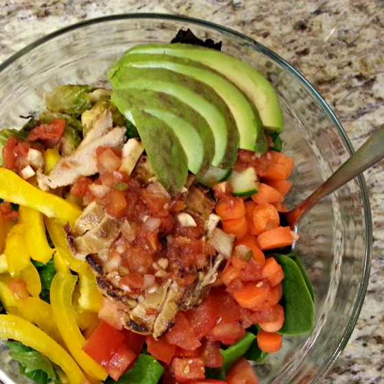 Mixed Green Salad Chicken Avocado Brussels Sprouts Salsa