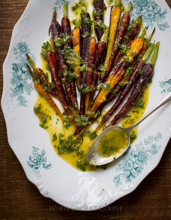 Roasted Carrots with Mint Lemon Dressing White on Rice Couple