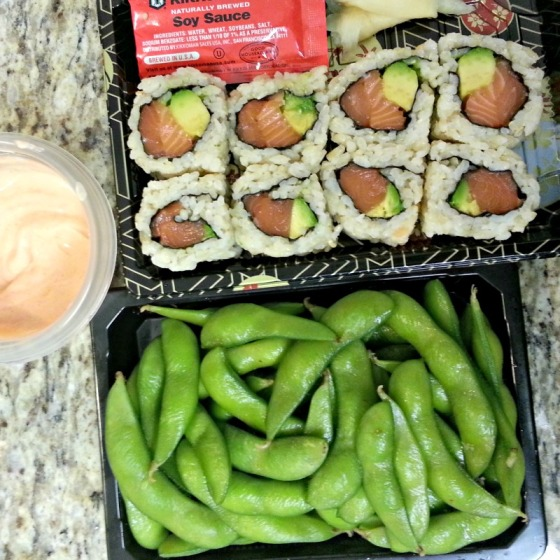 Salmon Avocado Brown Rice Sushi Edamame Sriracha Berkeley Bowl