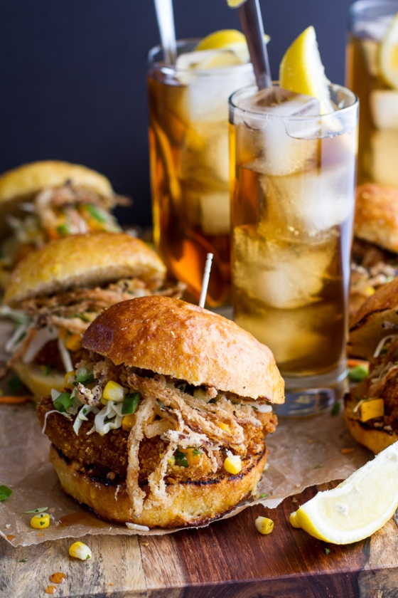 Sweet Tea Oven Fried Chicken Sliders with Jalapeño Cheddar Corn Slaw Crispy Onions Half Baked Harvest