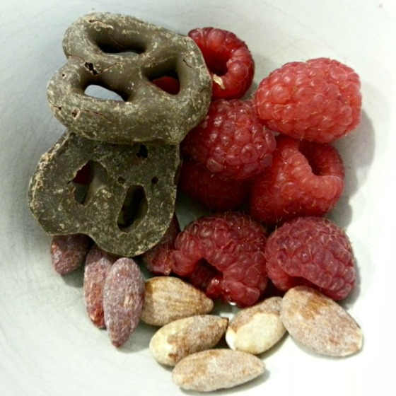Blue Diamond Toast Coconut Blueberry Almonds Dark Chocolate Pretzels Raspberries
