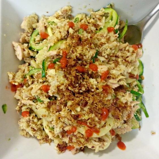 Spiralized Zucchini Zoodles Yellowfin Tuna Cauliflower Rice Sriracha
