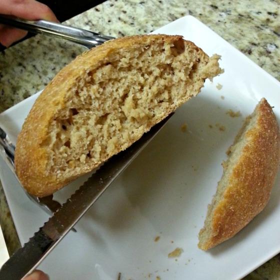 White Whole Wheat Roll Cut
