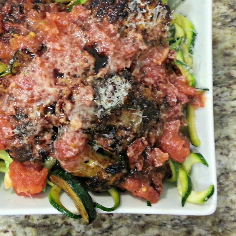 Baked Turkey Italian Meatballs No Cook Tomato Sauce Zucchini Noodles