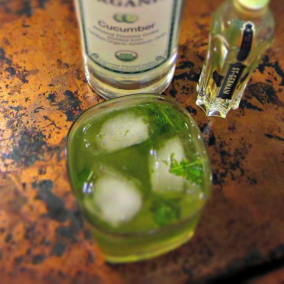 Cucumber Vodka St Germain Basil Sparkler