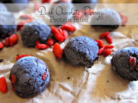 Dark Chocolate Berry Protein Bites