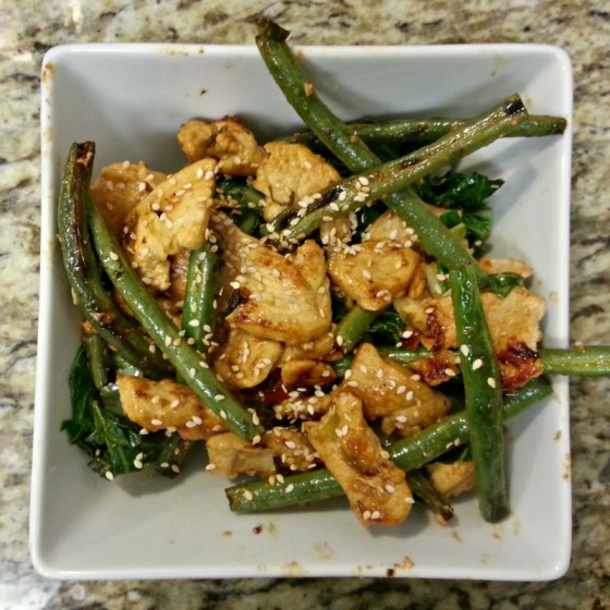 Dry Brasied Chicken and Green Beans