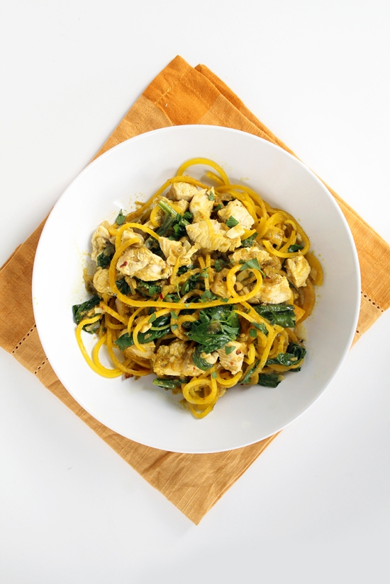 Spicy Green Harissa Chicken and Golden Beet Noodles Inspiralized
