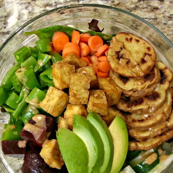 Sweet Potato Baked Tofu Avocado Beets Salad Almond Butter Sriracha