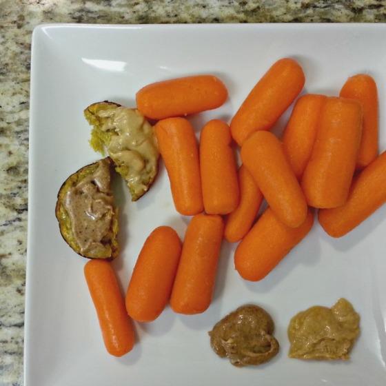 Vega Sport Vanilla Protein Plantain Bread Almond Peanut Butter Carrots