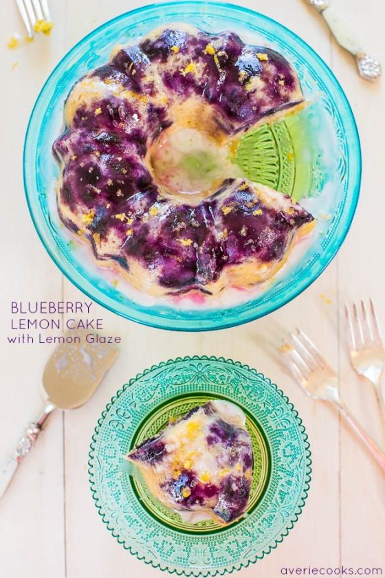 Blueberry Lemon Cake with Lemon Glaze Averie Cooks