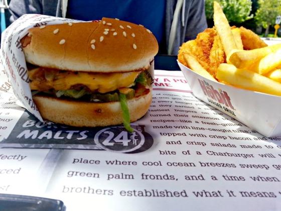 Habit Burger Cheeseburger French Fries Onion Rings
