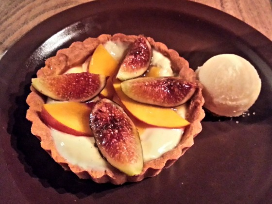 NOPA Peach Fig Tart Cognac Cream Walnut Crust Melon Sorbet