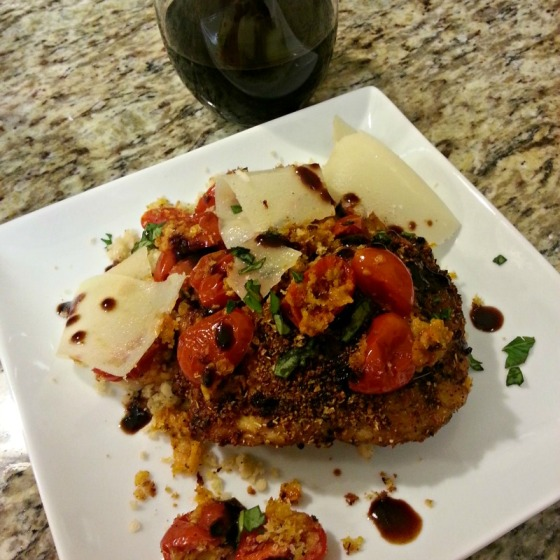 Roasted Chicken Panko Cherry Tomatoes Red Wine Parmesan Basil