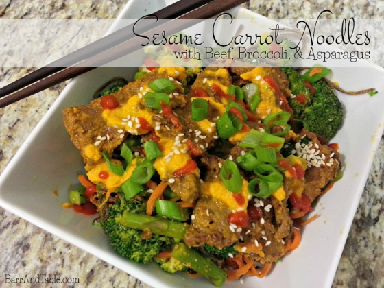 Sesame Carrot Noodles with Asparagus Broccoli and Beef