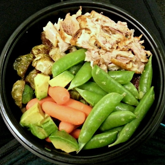 Smokey Peruvian Chicken Sugar Snap Peas Brussels Sprouts Carrots Avocado Heirloom Tomato Balsamic