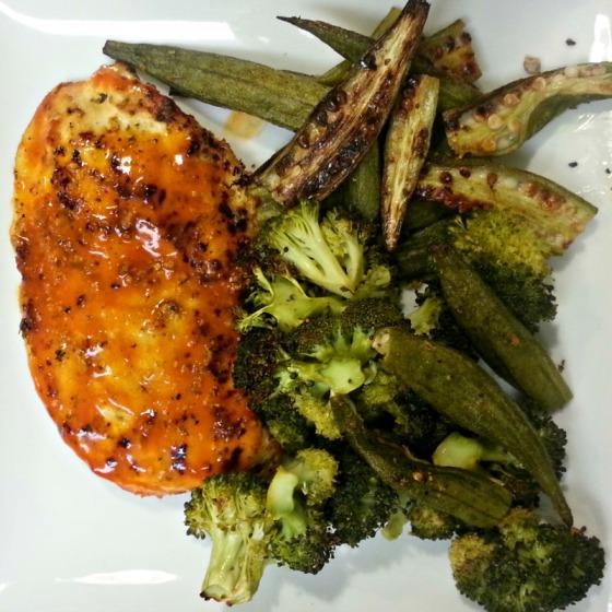 Franks Red Hot Buffalo Chicken Okra Broccoli