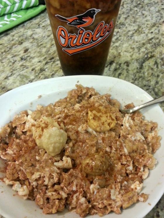 Protein Oatmeal Egg Macadamia Cashew Almond Nut Butter Coffee Orioles