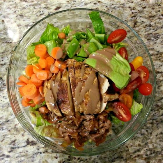 Romaine Carrots Chipotle Balsamic Chicken Avocado Tomato Onion Sugar Snap Peas Salad