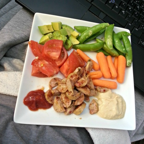 Trader Joes Jalapeno Chicken Sausage Eggplant Hummus Heirloom Tomato Avocado Sugar Snap Peas Carrots Ketchup