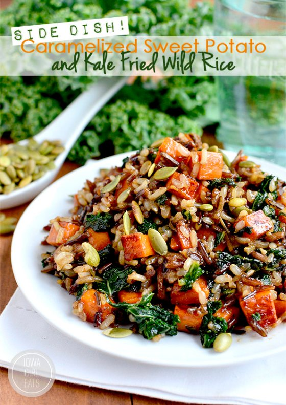 Caramelized Sweet Potato and Kale Fried Wild Rice Iowa Girl Eats