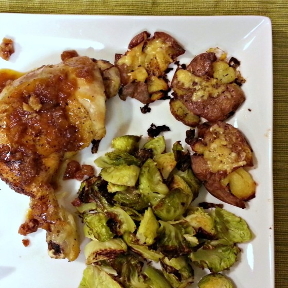 Herb de Provence Roast Chicken Smashed Potatoes Brussels Sprouts