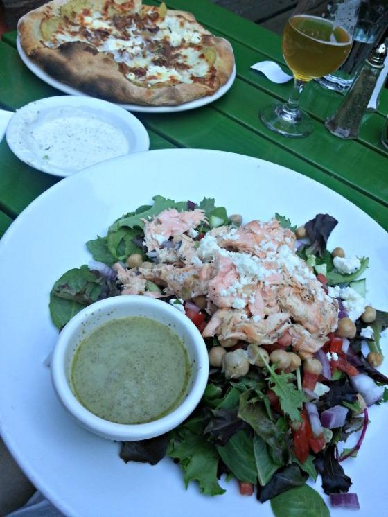 Jupiter Berkeley Salmon Salad Xanthia Pizza Beer