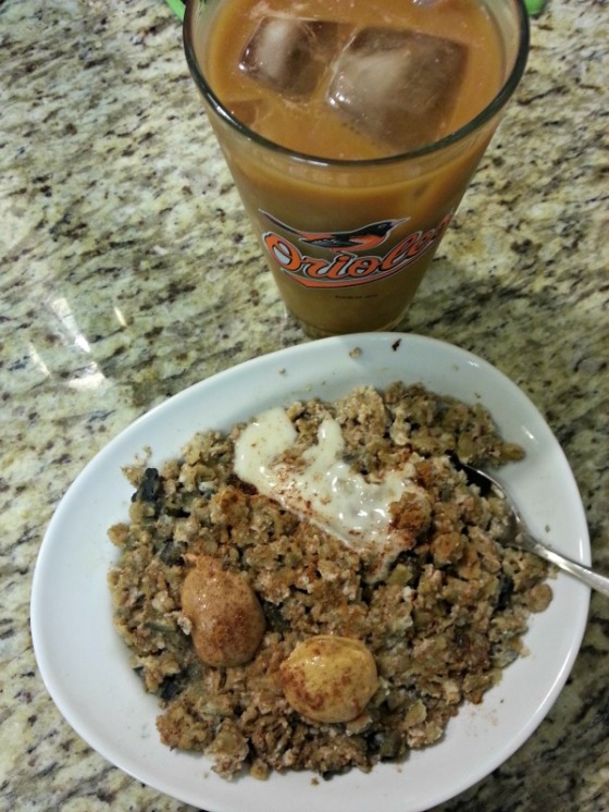Protein Egg White Oatmeal Oats Artisana Coconut Butter Almond Butter Peanut Butter Baltimore Orioles Coffee