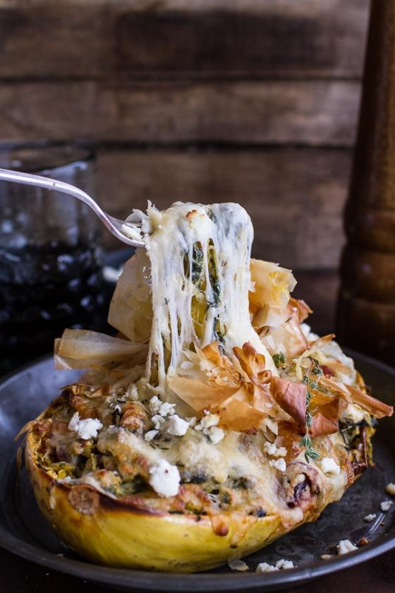 Spanakopita Stuffed Spaghetti Squash Bowls Half Baked Harvest