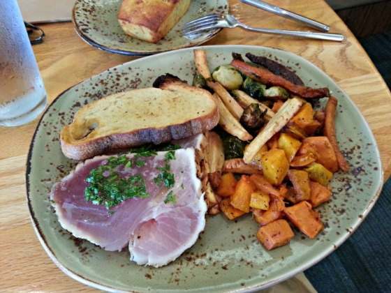 Tender Greens Albacore Tuna Roasted Sweet Potato Parsnips Butternut Squash Brussels Sprouts Bacon Jalapeno Cornbread