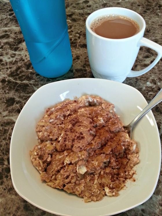 Protein Oatmeal Almond Butter Egg Whites Cinnamon Coffee