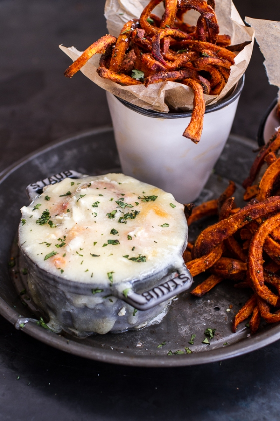 Skinny Tandoori Butter Sweet Potato Fries with Creamy Baked Harissa Feta Half Baked Harvest