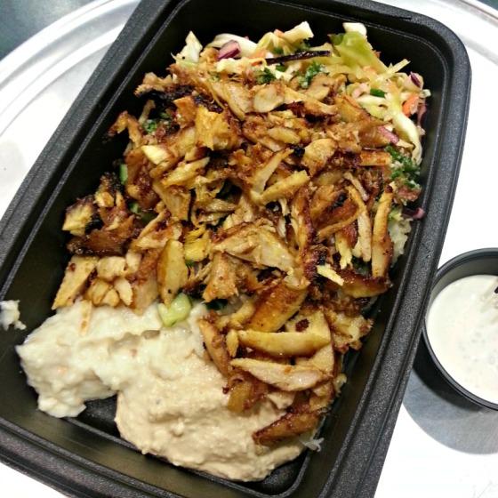 Chicken Shawarma Cabbage Salad Saurkraut Hummus Baba Ghanoush