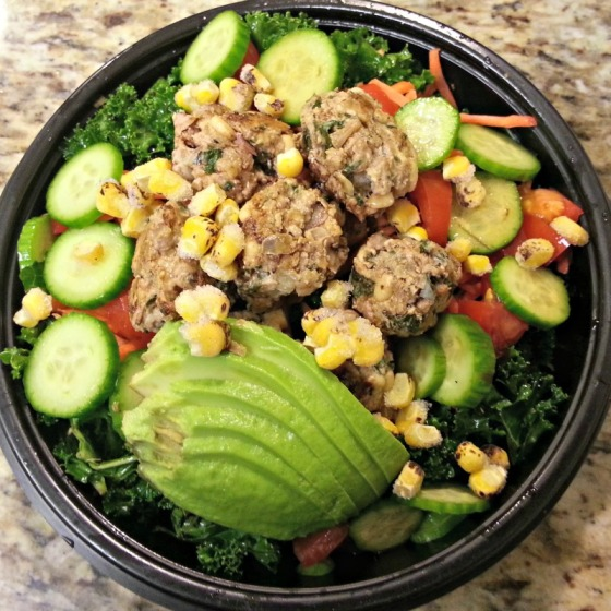 Moroccan Turkey Meatballs Avocado Kale Salad