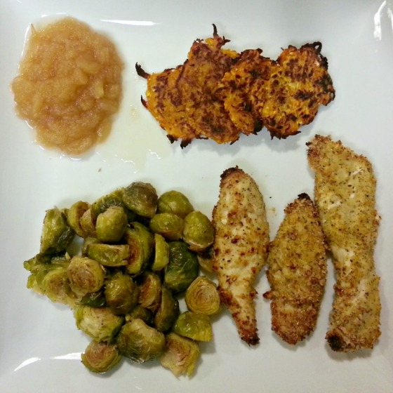 Sweet Potato Latkes Eating Bird Food Baked Chicken Tenders Crockpot Applesauce Brussels Sprouts