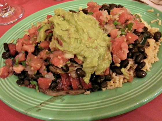 Baja Grilled Vegetable Black Bean Guacamole Rice Plate