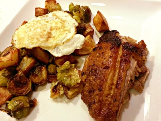 Duck L'Orange Roasted Brussels Sprouts Potatoes Egg Yolk Porn