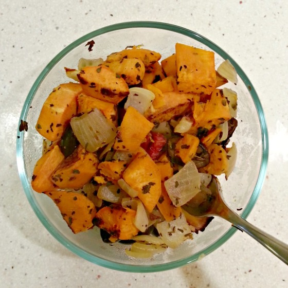 Mediterranean Sweet Potato Olive Onion Bake