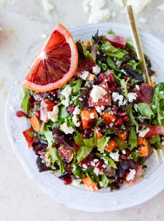 Winter Chopped Salad with Roasted Sweet Potato and Blood Orange Vinaigrette How Sweet It is